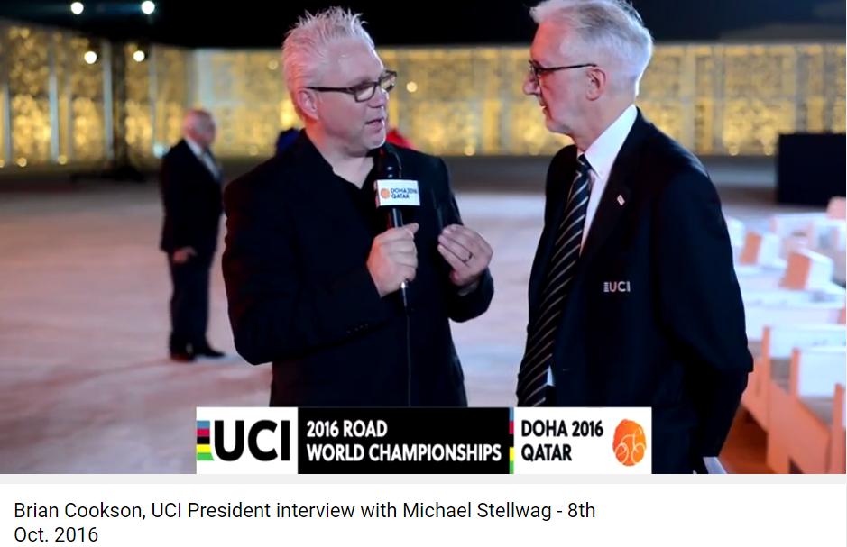 Michael Stellwag SilverFox Digital Communications Interviews President of UCI at UCI Road World Championships Doha 2016